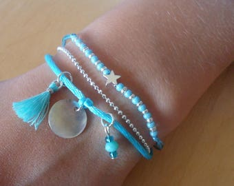 Silver Star and turquoise summer bracelet