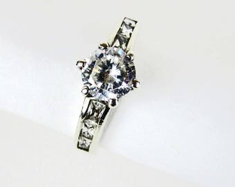 Sterling Silver Cubic Zirconia Engagement Ring, Wedding Ring Size 7, Vintage 1960s Women's Ring