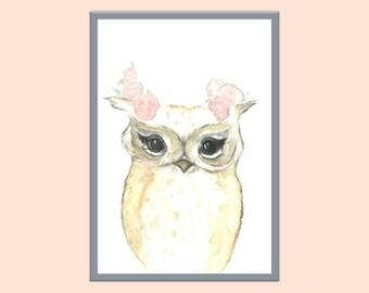 a3 Flower Crown Owl Print, Watercolor Owl Print, Nursery Print, Woodlands nursery art, Girls room owl print