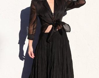 Vintage black sheer chiffon 100% silk tunic shirt.one size