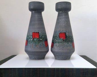 2 Vases by DUMLER & BREIDEN Studio Art Pottery Model 119-35 Grey and Red Fat Lava Glaze West German Pottery, Retro Pop Art Mid Century Décor