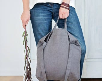 Gray linen tote, Tote bag, Shoulder tote, Natural linen bag, Weekender bag, Reusable Bag, Travel bag , Summer bag, Shoppers bag