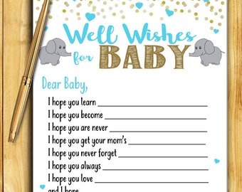 Baby Shower Game Activity - Well Wishes for Baby - Teal Blue and Gold ELEPHANT Instant Download Printable DIY Glitter Confetti Decoration