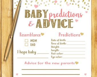 Baby Shower Game - Baby Predictions and Advice - Coral and Gold - Instant Printable Digital Download - diy Baby Shower Printables Activity