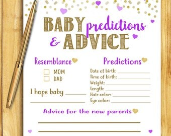 Baby Shower Game - Baby Predictions and Advice - Purple and Gold - Instant Printable Digital Download - diy Baby Shower Printables Activity