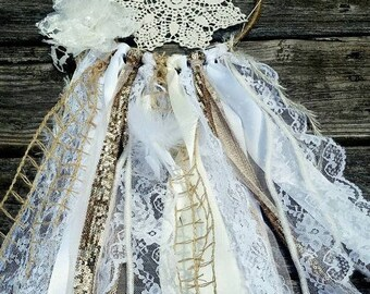 Custom made ribbon doily dream catcher one of a kind OOAK pick your size and colors  hippy boho wall decor feather lace sequins DEPOSIT