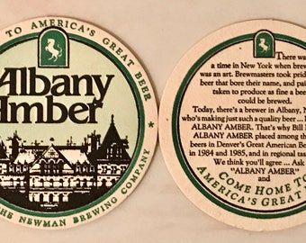Lot of 2 Vintage Newman Brewery Albany Amber Beer Coasters Breweriana Newman Brewing Company Albany NY