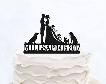 Wedding Cake Topper With Surname_MR & Mrs cake Topper with date_Custom Cake Topper three dogs_Groom And Bride Cake Topper