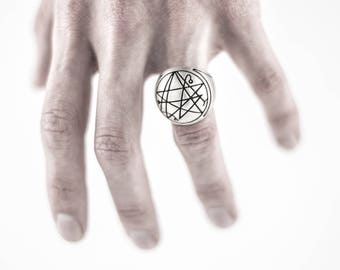 "Intenebris ""Frosted"" Sigil of the Gate Silver Signet Ring (Necronomicon) in sterling silver"