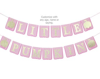 Little Pumpkin Banner, Happy Birthday Little Pumpkin Banner, Little Pumpkin Name Banner, Our Little Pumpkin Is One, Customize color - saying