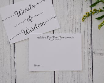 Wedding Advice Cards, Advice For The Bride And Groom Cards, Words Of Wisdom, Alternative Wedding Guestbook, Wedding Day Props, Advice Cards