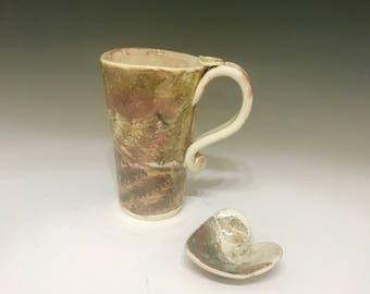Valentine  Pottery Coffee Mug and Tea Heart - Porcelain Monoprint - Pottery Coffee Mug - Ceramic Mug - Oversized Mug - Handmade Mug
