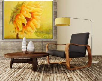 Extra Large Wall Art, Large Painting, Contemporary Art, Wall Art Oil Painting, Sunflower Art Original Painting, Canvas Painting