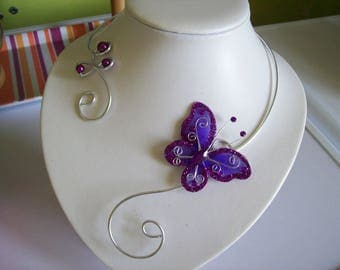 Bridal necklace wedding party holiday Purple Butterfly Silver Aluminum wire dark ceremonial beads
