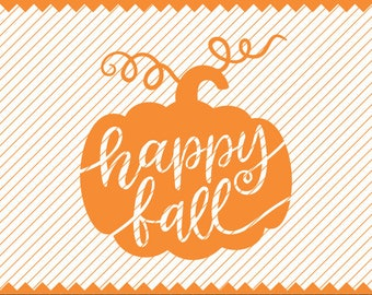 Happy Fall on Pumpkin Silhouette Clipart - svg -dxf -cdr -eps -png - pdf - Iron on Transfer - Cricut file - Vinyl Cutting - Laser Engraving