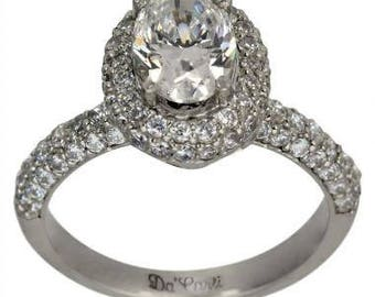 Diamond Halo Engagement Ring 1 1/4 Carat Oval Center In 14K White Gold With Diamond Accents