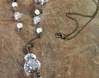 Long Beaded Crystal and Pearl Drop Necklace ~ Pearl Necklace ~ Antique Bronze Pearl Necklace ~ Bridal Jewelry ~ Wedding Jewelry