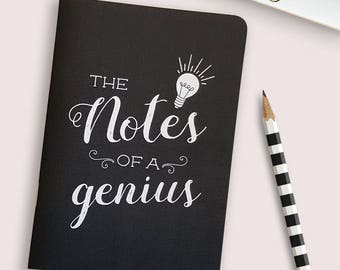 Notes of a genius notebook or journal  // 28 blank pages // gift for men or women // made from recycled paper // funny and quirky stationery