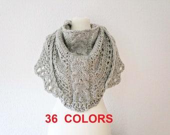 Knitted shawl Knit shawl Knit wrap Gray shawl Neutral shawl Chunky shawl winter accessory knit wrap shawl Wool shawl neutral minimalist