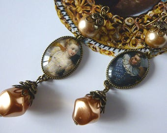 """Renaissance earrings """"Wedding"""", illustrated Cabochons portraits, pearly Czech glass beads, bronze metal filigree"""