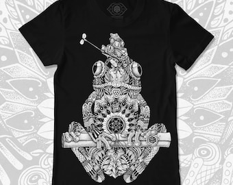 Ornate Frog T-shirt | Organic Cotton Mystical Clothing | Dotwork Apparel & Esoteric Symbolism