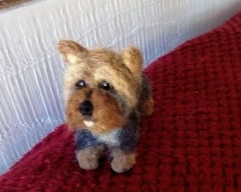 Hand made needle felted Yorkshire terrier miniature