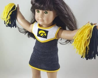 Iowa Hawkeye Cheerleading Outfit & Pompoms made to fit 18 inch dolls