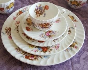 Vintage Aynsley China Dinnerware Set Summertime Made In England Bone China