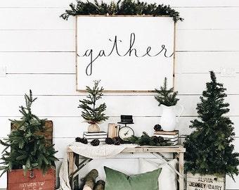 Large Gather Sign | Dining Room Sign | Gather Wood Sign | Wedding Gift | Housewarming Gift | Farmhouse Decor