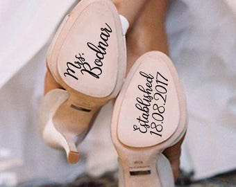 Personalized Wedding Shoes Stickers, Wedding Shoes Decal, Bride Shoes Decal, Something Blue, Wedding Decal, Bride Decal, Wedding Photo Prop