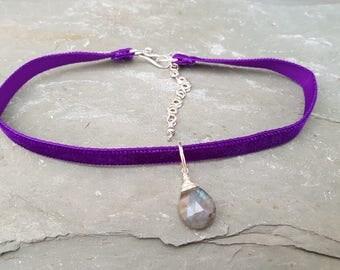 Labradorite Choker, Purple Velvet Choker, Gothic Choker, Labradorite Necklace, Gothic Jewelry, Handmade Choker, Boho Necklace, Gift for Her