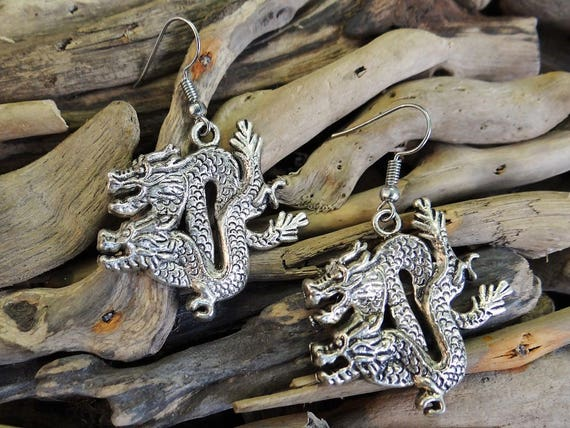 Chinese Dragon Earrings Goth Gothic Daenerys Targaryen Khaleesi Mother Of Dragons Game Of Thrones Lord of the Rings Pagan Fantasy