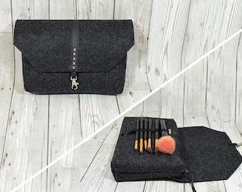 Travel makeup organizer bag, Makeup brush holder, gift for traveler, Travel makeup holder, Brush makeup bag, Felt makeup bag large