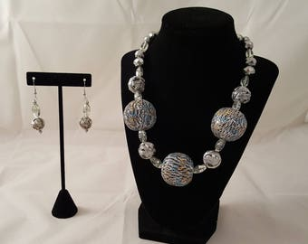 Chunky Round Silver & Clear Jewelry Set - Chunky Necklace - Sphere Necklace - Silver Necklace - Silver Earrings - Chunky Earrings - Silver