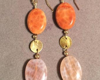 Fire Agate Bead Earrings