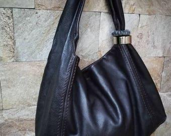 Jimmy Choo Saba Hobo Bag, Saba Bracelet Bangle Hobo Handbag, Brown leather, authentic