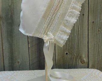 Baby Bonnet - Heirloom Style - Sz 6-9 mo.