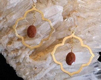 Red Goldstone & Goldtone Quartrefoil Earrings