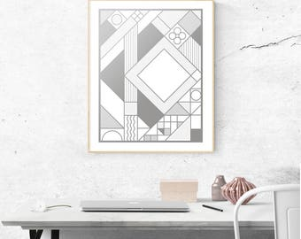 Gridlock Silver Screen Printed Art Print | 16x20 | Metallic, Silkscreen, Abstract, Scandinavian, Minimalist, Nordic, Geometric, Grid