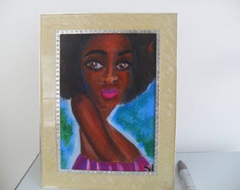 Black art, woman with natural hair, small acrylic painting, African American decor, 5x7 canvas panel