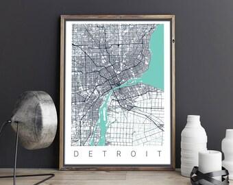 Detroit Poster / Detroit Map  / Detroit  / Map Art / Detroit Print / Detroit Map Poster / City Map Art /Detroit City Map/ Detroit MI