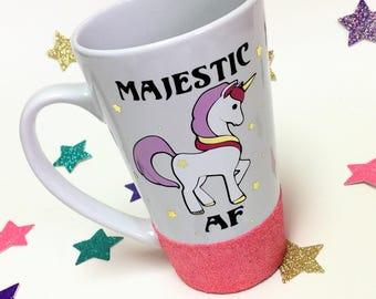 Majestic AF Mug  // Unicorn Mug // Unicorn glitter mug // Glitter mug // Custom mug // unicorn gift // Unicorn tea mug