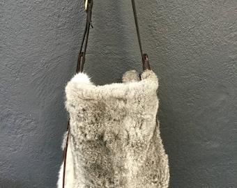 Silver Rabbit Fur and Cow Hide Bag