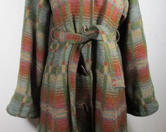 "1980s Vintage Womens Green Wool Duffle Coat w/ Hood SMALL Size 8 (Bust 35"")Retro Long Jacket -Quality Vintage Knitwear-"