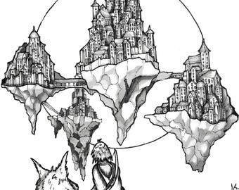 Floating City A5 Ink drawing. Original drawing, Black and white art, Ink art, illustration, Pen and Ink, Fine art, art print, art, drawing