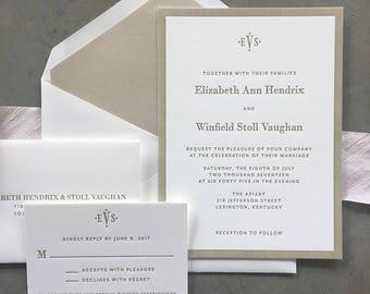 Classic Vaughan wedding invitation suite