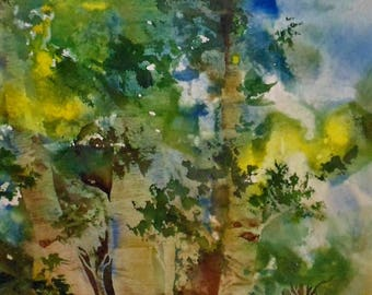 "Free Shipping in US for Watercolor, ""Summertime Quakies"" 11""X14"" signed landscape prints"