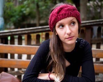 Knitted Headband, Handmade Headband, Chunky Headband, Bordeaux Headband, Woman Headband