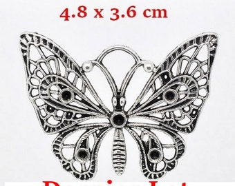 4 large antiqued silver Butterfly pendants