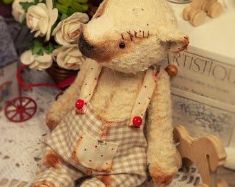 Artist teddy bear, antique vintage bear, sawdust beige bear, 6in, ooak mini bear, Maria Trotsenko Dolls, kawaii